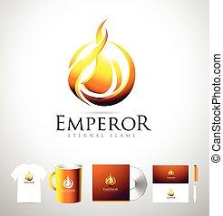 flamme, logo, brûler, logo, brûler, vecteur