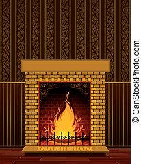 flamme, pierre, cheminée
