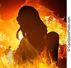 flamme, pompiers, silhouette, brûlé