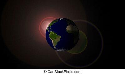 flamme, rotation, dos, la terre