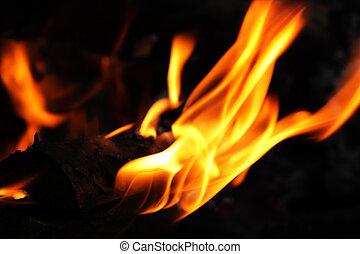 flamme, sur, sombre