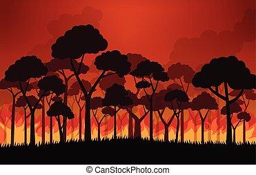 flammes, brûlé, brûler, -, arbre, illustration, feux, vecteur, forêt