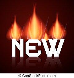 flammes, brûlé, titre, illustration, vecteur, nouveau