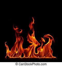 flammes, brûler