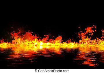 flammes, brûler, impressionnant, eau, arrière-plan., noir, reflet