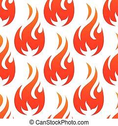flammes, brûler, modèle, seamless, flamme, rouges