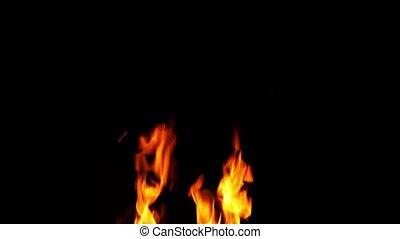 flammes, brûler, nuit