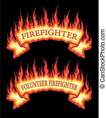 flammes, brûler, pompier, pompier, bannière