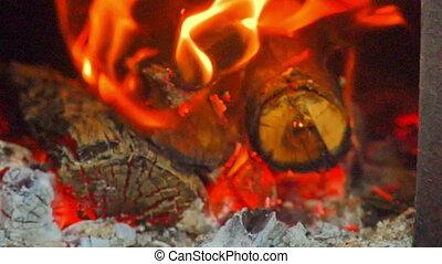 flammes, cheminée, bois, cendre, macro, grand plan