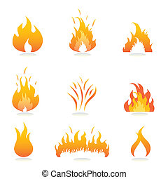flammes, et, brûler, signes