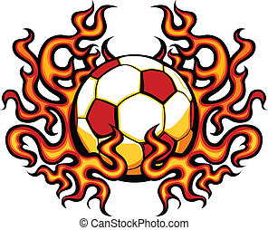 flammes, gabarit, football, vecteur