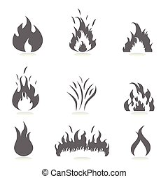 flammes, icône, ensemble