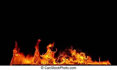 flammes, lent, arrière-plan., crépitement, motion., magique, super, brûler, isolé, noir