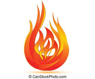 flammes, symbole, icône, vecteur, logo