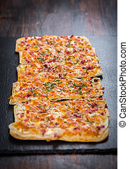 Flammkuchen or Traditional Alsatian Pie