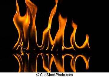 flammor, isolerat, på, svart