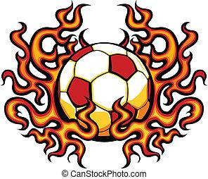 flammor, mall, fotboll, vektor