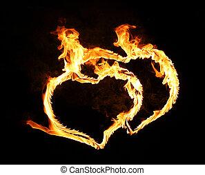 flamy, symbol, schwarz, hell, hintergrund