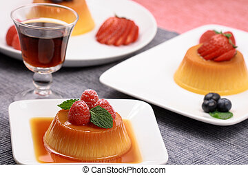 Flan desserts made with prime fresh berries followed by a port liqueur