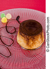 Flan - Traditional Spanish flan dessert served with a toffee...