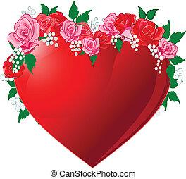 flanked, corazón, rosas rojas
