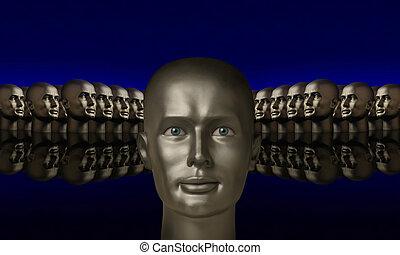 flanked, testa, due, argento, teste, gruppi