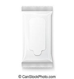 flap., blanc, mouillé, essuie, paquet