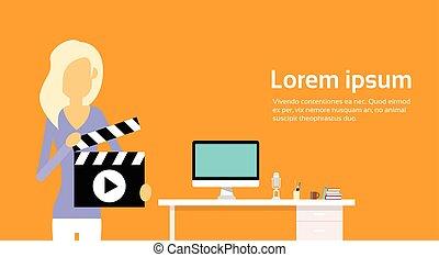flapper, conceito, desktop, mulher, vídeo, local trabalho, fundo, ter, blogging