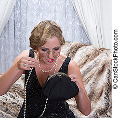 Flapper dress lady with lorgnette