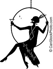 Flapper on stage clip-art