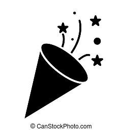 flapper - petard icon, vector illustration, black sign on...