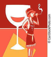 Flapper Speakeasy Wine - Woodcut syle image of a woman in a...