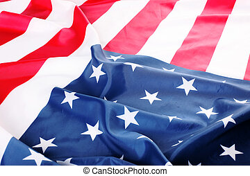 flapping flag of USA with wave