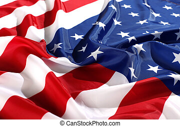 flapping flag USA with wave - flappinf flag USA with wave