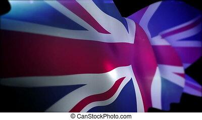 """""""flapping, lent, drapeau, britannique, motion"""""""