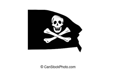 Flapping pirate Jolly Roger flag 4K render clip. Pro Res with alpha channel