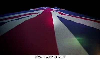 """""""flapping, slo-mo"""", haut, drapeau britannique, en mouvement"""
