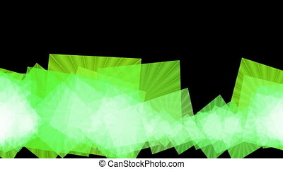 Flapping textured squares changing color on black background, abstract video background