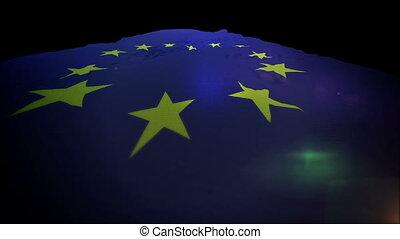 """""""flapping, union, up"""", en mouvement, bannière, européen"""