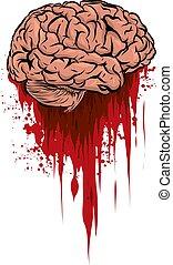 flaque, illustration, cerveau, vecteur, sanguine, frais