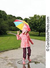 flaque, parapluie, enfants