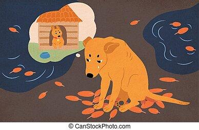 flaques eau, vecteur, pleurer, errant, séance, feuilles, chien, scène, triste, automne, déchirant, rue, adoption, sdf, rêver, couvert, animal., home., dessin animé, coloré, illustration.