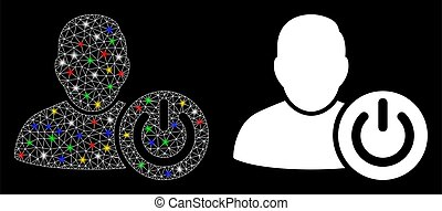 Glossy mesh user log off icon with sparkle effect. Abstract illuminated model of user log off. Shiny wire carcass polygonal mesh user log off icon. Vector abstraction on a black background.