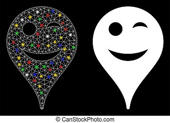 Flare Mesh 2D Wink Smiley Map Marker Icon with Flare Spots