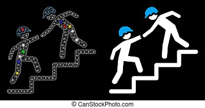 Glowing mesh workers help icon with lightspot effect. Abstract illuminated model of workers help. Shiny wire carcass triangular network workers help icon. Vector abstraction on a black background.