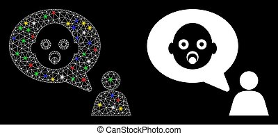 Flare Mesh Carcass Baby Thinking Person Icon with Flare Spots
