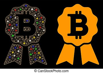Flare Mesh Carcass Bitcoin Certificate Seal Icon with Flare Spots