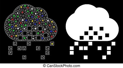 Flare Mesh Carcass Cloud Dissipation Icon with Flare Spots...