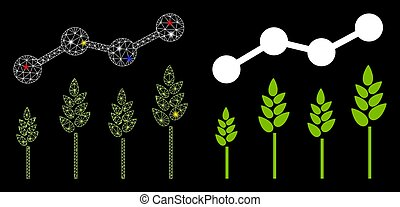 Flare Mesh Carcass Crop Analytics Icon with Flare Spots