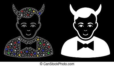 Glossy mesh devil icon with lightspot effect. Abstract illuminated model of devil. Shiny wire carcass polygonal mesh devil icon. Vector abstraction on a black background.